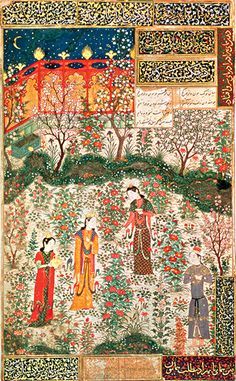 This is not Ottoman at all. It is a Timurid Persian painting of Prince Humay meeting Princess Humayun in a Persian garden. Painted on silk, CE (Musee des Arts Decoratifs, Paris) Mughal Paintings, Islamic Paintings, Indian Paintings, Persian Garden, Medieval Paintings, Iranian Art, Turkish Art, Ottoman, Historical Art