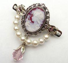 Kleine Haarspange in rosa silber mit Kamee Motiv von Schmucktruhe