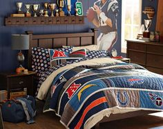 Find teen beds and headboards at Pottery Barn Teen. Create a statement in your bedroom with Pottery Barn Teen's beds and headboards in various styles and finishes. New York Giants, Boys Bedroom Furniture, Bedroom Ideas, Nfl, Quilted Pillow Shams, Pottery Barn Teen, Pbteen, Closet Bedroom, Headboards For Beds