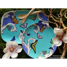 Plateshoppe.com butterfly plates and platters for a spring themed party or summer entertaining