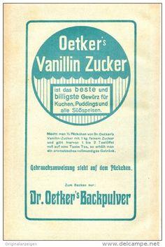 Original-Werbung/ Anzeige 1911 - OETKER'S VANILLIN ZUCKER / DR. OETKER'S BACKPULVER  - ca. 120 x 200 mm