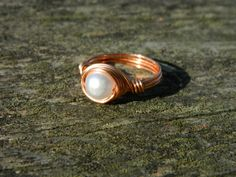 Copper wire wrapped ring. Handmade rings