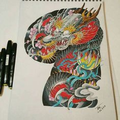 Chinese Tattoo Designs, Dragon Tattoo Designs, Frog Tattoos, Body Art Tattoos, Tiger Tattoo, Arm Tattoo, Tattoo Oriental, Dragon Classes, Subtractive Color
