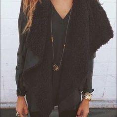 Black leather suede Sherpa vest SO SOFT never worn Phanuel Jackets & Coats Vests