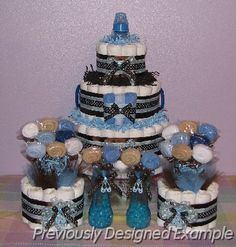 Baby Love Diaper Cakes/Diaper Cupcakes - Table Centerpieces/Blue and Brown Diaper Cupcakes