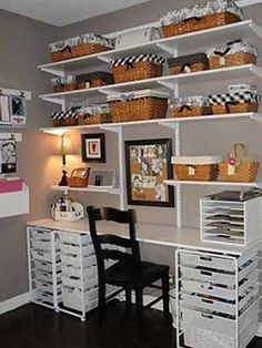 Black-and-White Scrapbook Room Craft Room inspiration Sewing Room Organization, Craft Room Storage, Organization Ideas, Storage Bins, Scrapbook Organization, Studio Organization, Basket Storage, Storage Ideas, Craft Room Shelves