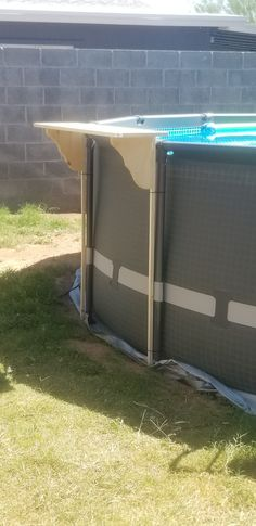 $20 easy above ground pool metal frame shelf Intex Above Ground Pools, Above Ground Pool Landscaping, Backyard Pool Landscaping, In Ground Pools, Landscaping Ideas, Kiddie Pool, Swimming Pools Backyard, Pool Deck Plans, Pool Shade