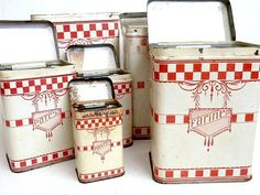 Antique kitchen canisters set 1910s  Kitchen by CabArtVintage, $180.00