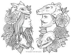 girl and guy and fox and bear and flowers and skulls