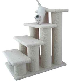 The Armarkat pet steps are a versatile addition for your furry loved one. These classic pet steps are upholstered in faux fleece and are easy to assemble. Great for a perching cat or to help your smal Furniture Scratches, Pet Furniture, Furniture Styles, Furniture Ideas, Cat Stairs, Pet Ramp, Cat Tree Condo, Cat Perch, Pet Steps