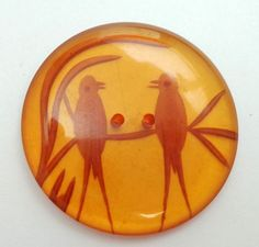 Vintage LARGE BACK CARVED APPLEJUICE BAKELITE BUTTON TWO BIRDS ON BRANCH