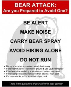 """CHECKLIST: BEAR SPRAY, WHISTLE. Article: 'Wyoming Star Tribune' by Kelsey Dayton April 20, 2012.    Visitors to Yellowstone National Park will see new signs warning them to avoid bears and telling them what to do if they should encounter one.  """"The park recommends hiking in groups, carrying bear spray and not running if you surprise a bear"""", said Kerry Gunther, a Yellowstone biologist. Backpackers must get a permit, receive bear safety info, and watch a video on bears and the use of bear…"""
