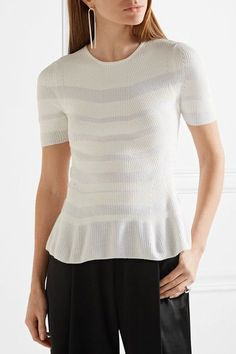 Narciso Rodriguez - Striped Ribbed-knit Top - White - IT38