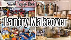 Welcome back to my Pantry Makeover Another Clean, Declutter & Organize With Me, and episode 2 to my NEW whole house decluttering series wh. Food Pantry Organizing, Organizing Your Home, Organizing Ideas, Pantry Sign, Pantry Labels, Food Storage Containers, Glass Containers, Thermos Food Jar, Diy Home Cleaning
