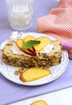 Peaches 'n Cream Cake with Walnuts – Gluten Free   FamilyFreshCooking.com