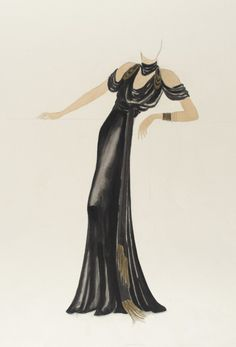 Orry-Kelly, Costume Sketch from Hollywood Costume, Hollywood Dress, Old Hollywood Glamour, Harlem Renaissance, Renaissance Dresses, Fashion Illustration Vintage, Fashion Illustrations, Fashion Sketches, Dress Up Costumes