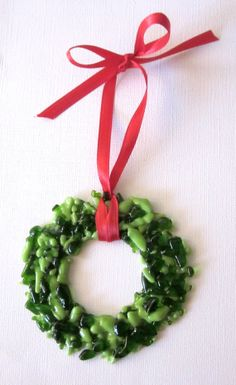 Christmas Wreath Green Ornament Fused Glass by outofourgourds, $15.00
