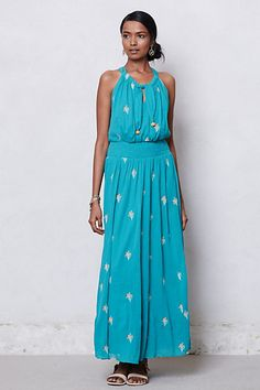 Skyscape Maxi Dress #anthropologie -Beautiful dress, mine just needs some loose fabric taken in at the bust. The color is gorgeous and I can't wait to wear it this summer. I bought this in all its magnificence for $40.