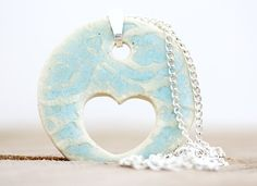Tiffany Blue Heart Porcelain Pendant by MuddyHeartPottery on Etsy, $18.00