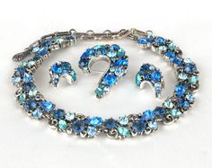 Gorgeous! Something Blue?  Vintage Lisner Shades of Blue Rhinestone Necklace, Bracelet, and Earrings Set  #dteam