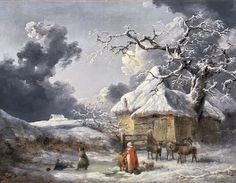 George Morland-Winter Landscape with Figures