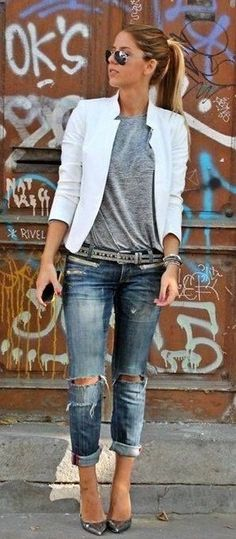 summer outfits Grey Top + Destroyed Skinny Jeans