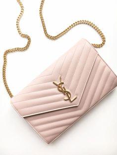 yves saint laurent saint laurent paris ysl wallet on chain woc pink palepink gold love fashion designer bag