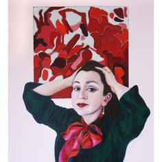 Portrait painting of our skinny scarf #scarves#portrait #scarf #painting #red #portrait #abstractart #today#ss17 #accessories #commission #onlineboutique #paint#red#womenswear