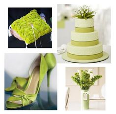 Soft green wedding ring pillow, cake, shoes, and bouquet (The Wedding Corner)