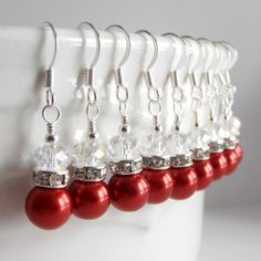 Apple Red Bridesmaid Jewelry Red Pearl by FiveLittleGems on Etsy