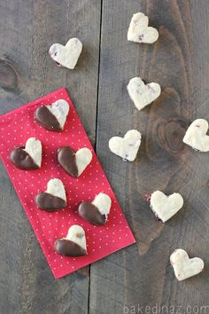 Dried Cranberry Shortbread Hearts - bakedinaz.com Perfect treat for Valentines Day! #heart #shortbread #valentines