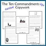 Ten commandments copywork cursive more