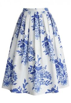 Blue Floral Sketch Pleated Midi Skirt
