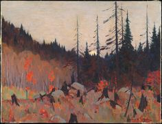 """huariqueje: """" Rising October Moon , Laurentians - Clarence Gagnon Canadian, Oil on canvas, x cm. Art Gallery of Ontario. Canadian Painters, Canadian Artists, Clarence Gagnon, Art Gallery Of Ontario, Autumn Trees, Tree Art, Painting Inspiration, Aesthetic Pictures, Landscape Paintings"""