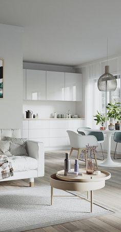 From Nordic Design Apartment Kitchen, Home Decor Kitchen, Apartment Design, Kitchen Living, Home Kitchens, Home Room Design, Interior Design Kitchen, House Design, Modern Kitchens