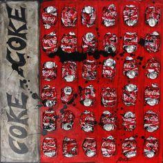 Tableau réalisé avec des canettes de coca compressées et collées. Peinture et vernis acryliques.