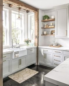 Beautiful Farmhouse Kitchen Storage Ideas - The Effective Pictures We Offer. Beautiful Farmhouse Kitchen Storage Ideas - The Effective Pictures We Offer You About furniture A quality picture can tell you many things. All White Kitchen, New Kitchen, Country Kitchen, White Kichen, Rustic Chic Kitchen, Farm Kitchen Ideas, French Kitchen Decor, Kitchen Post, Colonial Kitchen