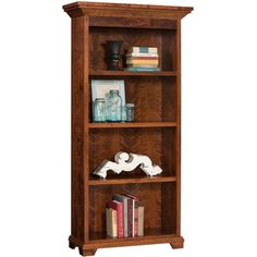Amish Home Office Bentley Bookshelf ($462) ❤ liked on Polyvore featuring home, furniture, storage & shelves, bookcases, shelf furniture, book-shelves, book shelves, shelf bookcase and brown bookshelf