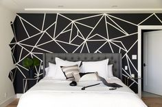 Stylish Most Inspiring Painted Bedroom Wall Ideas You Have To Know Bedroom Wall Designs, Bedroom Decor, White Bedroom, Girls Bedroom, Black Bedrooms, Gothic Bedroom, Geometric Wall Paint, Room Wall Painting, Wall Art
