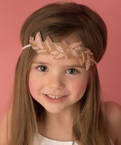 Pink Beaded Leaf Headband