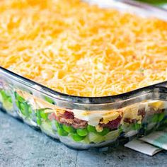 Traditional Seven Layer Salad with Iceberg Lettuce Frozen Peas Onion Celery Bacon Crumbles Hard Boiled Eggs Mayonnaise White Sugar Cheddar Cheese. by Read Gourmet Recipes, Cooking Recipes, Healthy Recipes, Jello Recipes, Cooking Games, Noodle Salad, Pasta Salad, Macaroni Salad, Frozen Peas