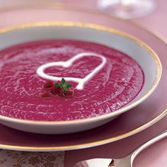 Roasted Beet Soup with Crème Fraîche from Epicurious, found @Edamam!