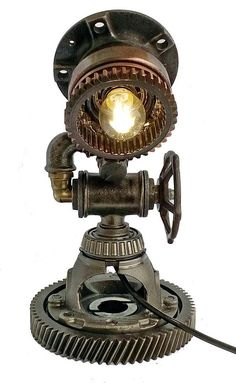 Steampunk Lamp, Table Lamp, Edison Light, Steampunk art, Vintage Light, Pipe Lamp, Bedside Lamp, Steampunk Lamp diy, Steampunk Lamp for sale