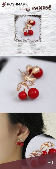 "🍒 Cherry Earrings 🍒 Sweet cherries to brighten your ears! Hypoallergenic alloy. 0.51"" x 0.55"". Jewelry Earrings"