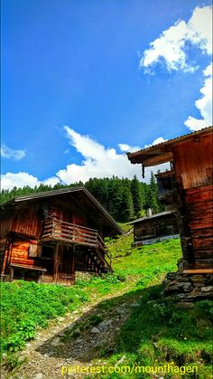 huts in the Voldertal, a valley in Tyrol Austria