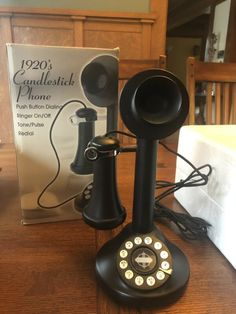NEW Crosley CANDLESTICK DESK PHONE 1920's Replica BLACK Upright Telephone CR64 Phones For Sale, Ebay Search, Telephone, Trading Cards, Candlesticks, Filters, Desk, Black, Candle Holders