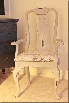 Yard sale chair makeover - Love the whites/ & creams! Very easy to cover seat! Love this!