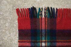 Vintage Wool Plaid Stadium Blanket - Red, Navy, Green, White, Yellow, Black. $40.00, via Etsy.