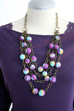Multi Strand Statement Necklace, Chunky Jewelry, Polymer clay necklace, Jewel Tone, Fall Fashion Necklace