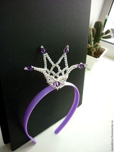"""Купить Корона-ободок """"Царевна-Несмеяна"""" - фиолетовый, орнамент, сиреневый, корона, ободок, корона-ободок"""